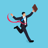 Running businessman isolated on blue background. Isometric businessman is the winner of the competition. 3d businessman with a torn red ribbon on his chest Stock Image
