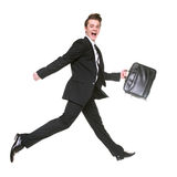 Running businessman isolated on white Royalty Free Stock Photo
