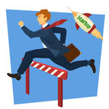 Running Businessman Jumping Over Barrier. Business Startup Stock Photo