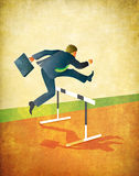 Running Businessman Jumping Track Hurdles. Illustration of businessman with briefcase jumping over hurdles on running track. Textured art with lots of room for Royalty Free Stock Photography