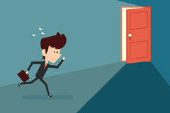 Running businessman and open door Royalty Free Stock Photography