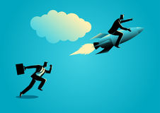 Running businessman racing with a businessman on rocket Stock Image