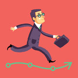 Running businessman on the road to success or career. Royalty Free Stock Photos