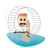 Running businessman is running in hamster wheel. Illustration of a running businessman is running in hamster wheel Stock Image