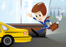 Running businessman are trying to catch taxi stock illustration