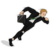 Running businessman. Vector illustration of running businessman in a suit with a briefcase Royalty Free Stock Photo