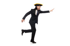 The running businessman wearing tricorn isolated on white Stock Photos