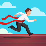 Running businessman winning a race. Running businessman crosses a finish line red ribbon, winning a race. Flat style vector illustration  on white background Stock Photo