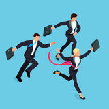 Running businessmen  on blue background. Isometric businesswoman is the winner of the competition. 3d businesswoman with a torn red ribbon on his chest. Vector Royalty Free Stock Photography