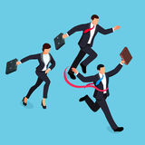 Running businessmen  on blue background. Isometric businessman is the winner of the competition. 3d businessman with a torn red ribbon on his chest. Vector Royalty Free Stock Images