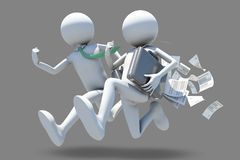 Running businessmen. For success, 3d rendering Royalty Free Stock Image