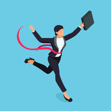 Running businesswoman  on blue background. Isometric business lady is the winner of the competition. 3d business woman with a torn red ribbon on her chest Stock Photos