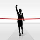 Running businesswoman crossing finish line, vector. Illustration Stock Photos