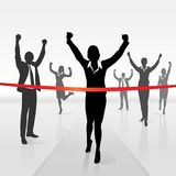 Running businesswoman crossing finish line win Stock Image