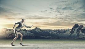 Running businesswoman Royalty Free Stock Image