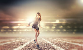 Running businesswoman Royalty Free Stock Photos