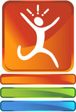 Running Button. In image of a person running in a panic Royalty Free Stock Photos