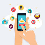 Running campaign, email advertising, direct digital marketing. E. Mail marketing. Set of social media icons. Flat design style modern vector illustration concept Stock Image