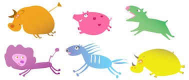 Running cartoon animals Royalty Free Stock Image