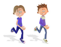 Running cartoon boys Royalty Free Stock Photos