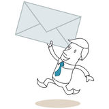 Running cartoon businessman delivering mail Stock Image