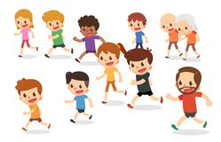 Running cartoon characters. Marathon runners in various ages. Fun run. Healthcare royalty free stock photo