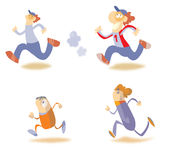 Running cartoon characters Royalty Free Stock Image