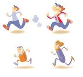 Running cartoon characters royalty free illustration