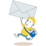 Running cartoon mailman with envelope. Vector illustration of a monochrome cartoon character: Hurrying mailman running with huge envelope in his hand and bag Royalty Free Stock Photos