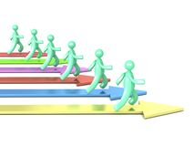 Running Cartoon Men And Colorful Arrows Stock Photo