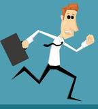 Running cartoon office worker Stock Image