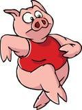 Running cartoon pig. A running cartoon pig in a red shirt Royalty Free Stock Photography