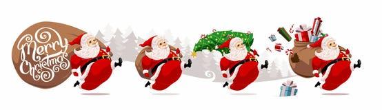 Running cartoon Santa Claus vector illustration