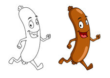 Running cartoon sausage Stock Photos
