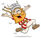 Running cartoon viking Stock Image