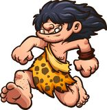 Running caveman. Running cartoon caveman with long hair. Vector clip art illustration with simple gradients. All in a single layer Royalty Free Stock Photos