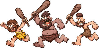Running cavemen. Angry running cavemen. Vector clip art illustration with simple gradients. Each on a separate layer Stock Photos