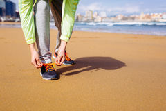 Running challenge at city beach Royalty Free Stock Photo