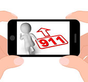 Running Character And 911 Nine One Displays Emergency Help Rescu. Running Character And 911 Nine One Displaying Emergency Help Rescue royalty free illustration
