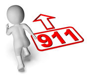 Running Character And 911 Nine One. Showing Emergency Help Rescue Stock Images