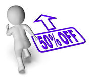 Running Character Shows Sale Discount Fifty. Percent Off 50 Stock Photos