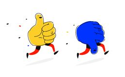 Running characters Like and Dislike. Vector. Flat style. Cute heroes, mascots of companies. Icons for social networks. Thumb up. And thumb down. Positive and royalty free illustration