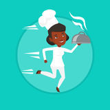 Running chef cook vector illustration. Royalty Free Stock Photo