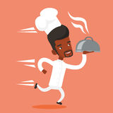 Running chef cook vector illustration. Stock Photography