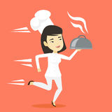 Running chef cook vector illustration. Royalty Free Stock Images