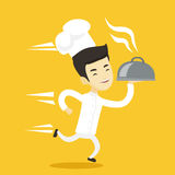Running chef cook vector illustration. Stock Images