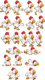 Running chicken. Sprites. Vector clip art illustration with simple gradients. Each element on a separate layer royalty free illustration