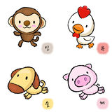 Running Chickens and Monkey, Dogs and Pigs Stock Photo