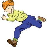 Running child. The boy runs and looks away. Vector illustration royalty free illustration
