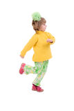 Running Child Girl. Side View. Royalty Free Stock Photography